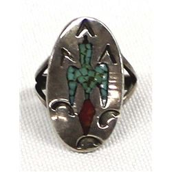 Vintage Navajo Sterling Chip Inlay Ring, Size 4.5