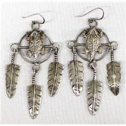 Navajo Sterling Silver Horned Toad Earrings