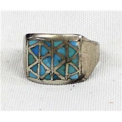 Vintage Zuni Sterling Inlay Turquoise Ring, Sz 11