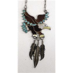 Zuni Sterling Inlay Eagle Necklace by Eva Etsate
