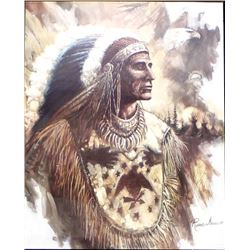 Large Framed Native American Chief Print, Manning