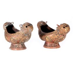 Pair of Mongolian copper and brass bowls.
