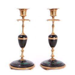 Pair of inlaid brass candlesticks.