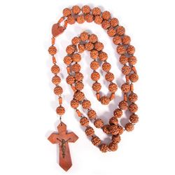 A carved wooden rosary.