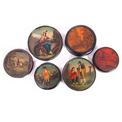 Six 19th century snuff boxes.