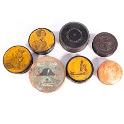 Seven 19th century snuff boxes.