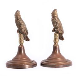 Pair of bronze birds.