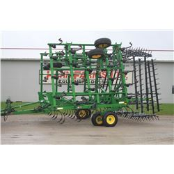 2014 JD 2210 42' C-tine cultivator, New 5 bar spike harrow, knock off sweeps, rear hitch and hyd., u