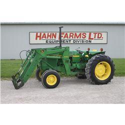 JD 2550 2wd tractor, 245 loader, pallet forks, hilo, 1 remote, 18.4x30, 6766 hrs