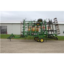 JD 2210 29' S-tine cultivator, combo 3 bar harrow rolling basket, rear hitch, 300 gal. incorporation