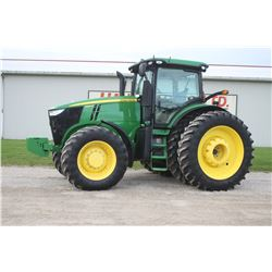 2013 JD 7260R 4wd tractor, Premium cab, air, 480 80R50 axle duals, IVT, 1900 hrs, 20 front weights,