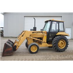 Ford 545D 2wd tractor, loader, cab, power reverser, 16.9x24, 1413 hrs, Municipal unit