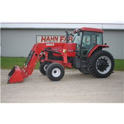 CIH MX 100 2wd tractor, cab, air, Buhler 794 loader, powershift, 16.9x38, 2 remotes, 2300 hrs