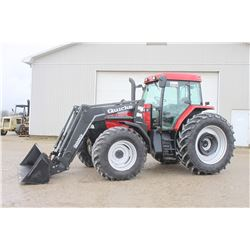 CIH MX110 4wd tractor, cab, air, Alo loader, powershift, 18.4x42, one owner, 2600 hrs