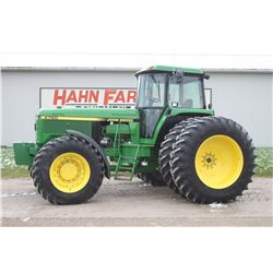 JD 4760 4wd tractor, cab, air, 20.8X42 axle duals, powershift, 16 front weights, one owner, very cle