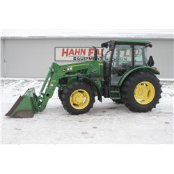 2015 JD 5085E 4wd tractor, cab, air, H240 SL loader, power reverser, 18.4x30, 2 remotes, 645 hrs