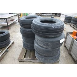 skid of used 11L-15 highway service tires