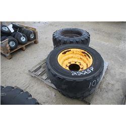 skid of used 10-16.5 skidsteer tires and rims