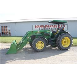 2015 JD 5100M 4wd tractor, H260 loader, canopy, 3 remotes, 18.4x34, 360 hrs, As New
