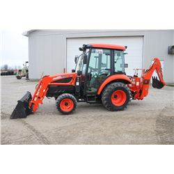 Kioti DK35SE 4wd compact tractor, cab, air, loader, backhoe, hydro, 522 hrs