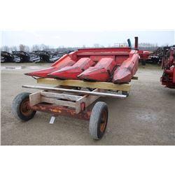 """MF 33, 3 row cornhead, 30"""" spacing with wagon"""
