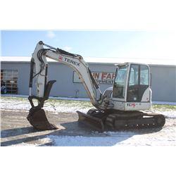 Terex TC 75 excavator, cab, air, hyd thumb, dozer blade, 3900 hrs