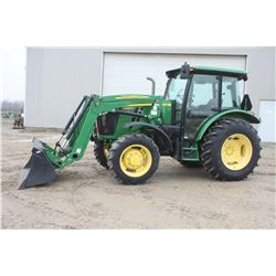 2014 JD 5085E 4wd tractor, cab, air, loader, power reverser, 835 hrs