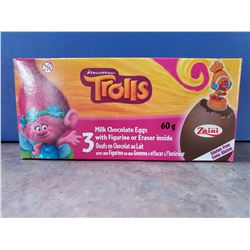 24 BOXES OF 3 PACK 'TROLL MOVIE' CHOCOLATE EGGS