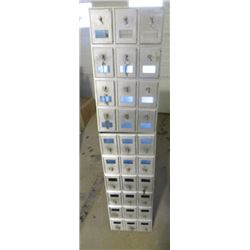 """KEYED MAILBOXES (WOULD MAKE GREAT SHOP CUBBIES) *12"""" X 14"""" X 55""""* (30 COMPARTMENTS)"""