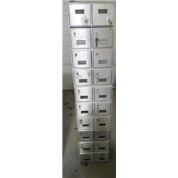 """KEYED MAILBOXES (WOULD MAKE GREAT SHOP CUBBIES) *12"""" X 14"""" X 55""""* (20 COMPARTMENTS)"""