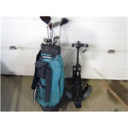 GOLF CLUBS, BAG AND CART (RIGHT HAND)