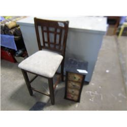 BAR STOOL AND 4 DRAWER CABINET