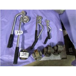 LOT INCLUDING 3 PIPE AND ROD BENDERS AND 4 STEEL CASTERS