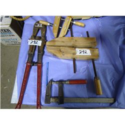 3 CLAMPS AND BOLT CUTTER