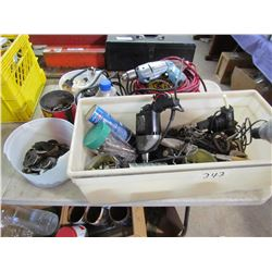 LOT OF NUTS, BOLTS, HOSE CLAMPS, 2 DRILLS