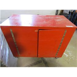 "WOODEN SHOP BOX ON CASTERS (50"" X 25"" X 40"") *2 DOORS*"