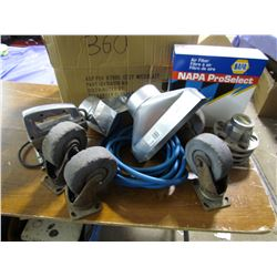 LOT INCLUDING, LARGE CASTERS, AIR HOSE, JIG SAW, DUCTING