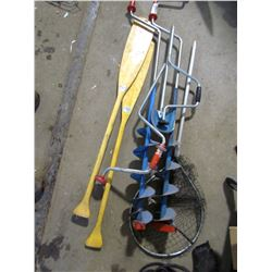 LOT INCLUDING, 3 SIX INCH ICE AUGERS, 2 OARS AND FISH NET