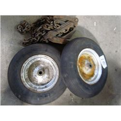 2 WHEEL BARROW TIRES AND CHAIN TIGHTENER