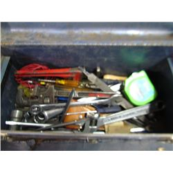 TOOL BOX WITH ASSORTED WRENCHES AND PIPE WRENCHES
