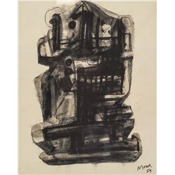 Henry Moore English Print Inscribed Moore '59