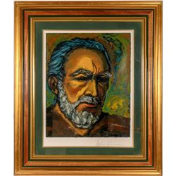 "Anthony Quinn Framed Self Portrait Serigraph Titled ""Zorba""  #110786"