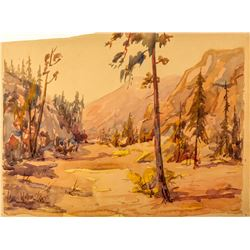 Carl Walline Original Western Watercolor  #49918