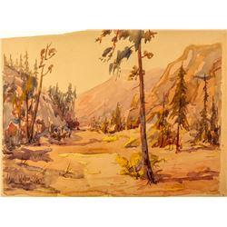 Carl Walline Original Western Watercolor  #49918