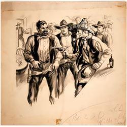 Cowboy Drawing Gun on Man in Saloon  #109850