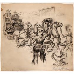 Cowboy Illusration of Halting a Stagecoach  #109860