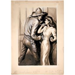 Cowboy Illustration Locking Door w/ Woman  #109777