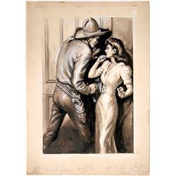 Cowboy Illustration Locking Door w/ Woman  #109777