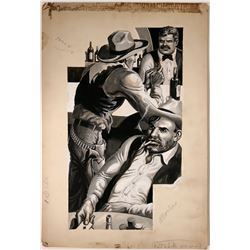 Cowboy Illustration of Discussion in the Saloon  #109778