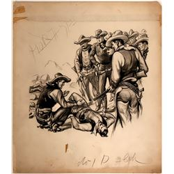 Cowboy Illustration of Talking to Downed Man After Gun Fight  #109851